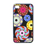 Colorful Retro Circular Pattern Apple iPhone 4 Case (Black) Front