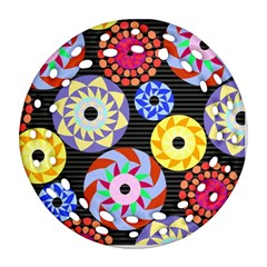 Colorful Retro Circular Pattern Round Filigree Ornament (2Side)