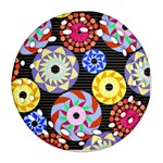 Colorful Retro Circular Pattern Round Filigree Ornament (2Side) Back