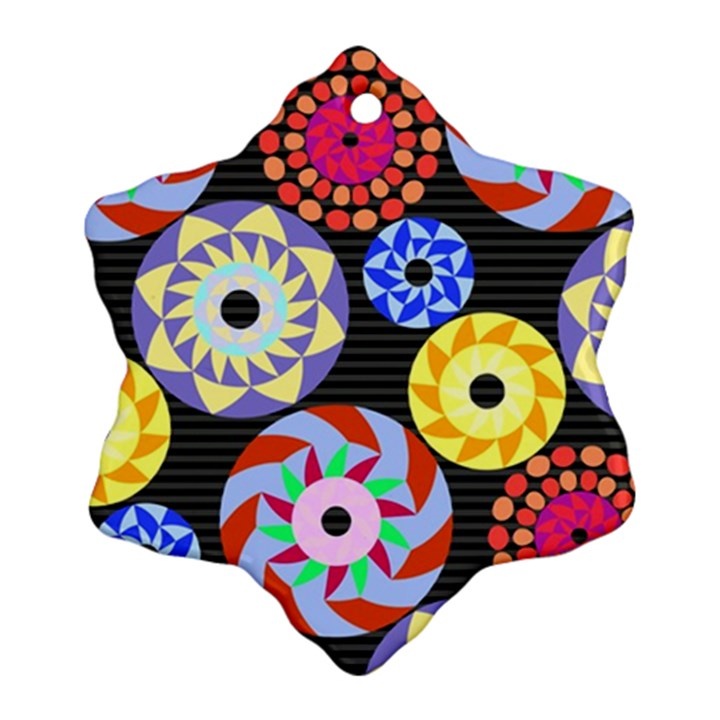Colorful Retro Circular Pattern Snowflake Ornament (2-Side)