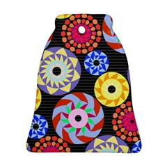 Colorful Retro Circular Pattern Bell Ornament (2 Sides)