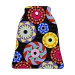 Colorful Retro Circular Pattern Bell Ornament (2 Sides) Back