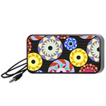 Colorful Retro Circular Pattern Portable Speaker (Black)  Front