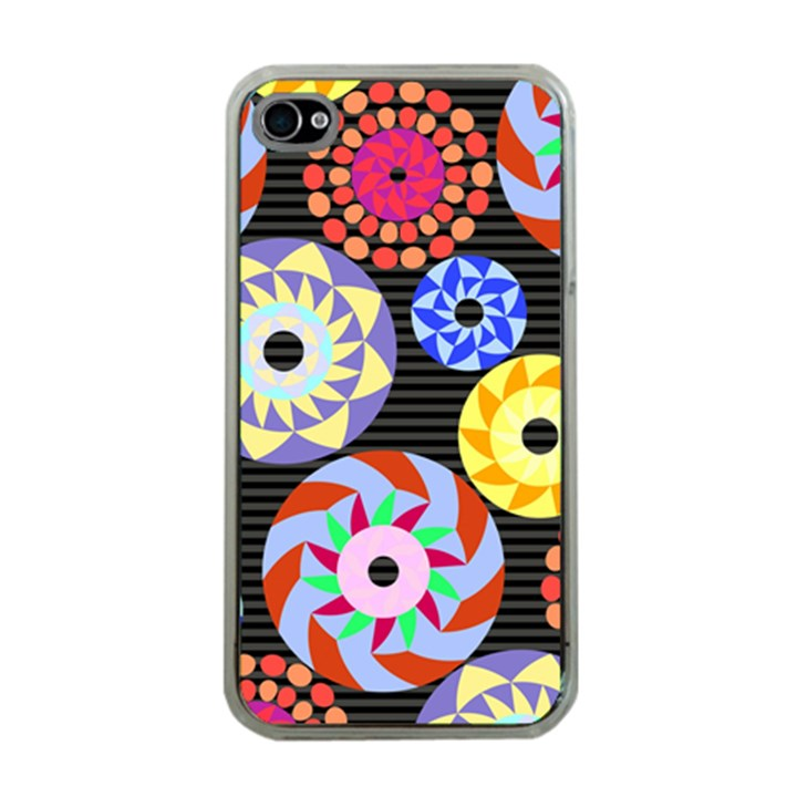 Colorful Retro Circular Pattern Apple iPhone 4 Case (Clear)