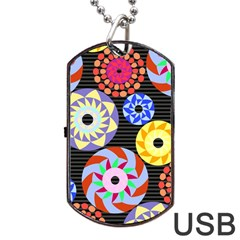 Colorful Retro Circular Pattern Dog Tag Usb Flash (one Side)