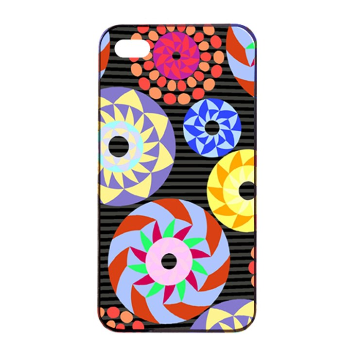 Colorful Retro Circular Pattern Apple iPhone 4/4s Seamless Case (Black)
