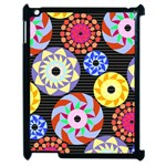 Colorful Retro Circular Pattern Apple iPad 2 Case (Black) Front