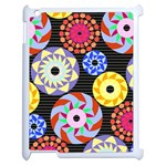 Colorful Retro Circular Pattern Apple iPad 2 Case (White) Front