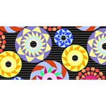 Colorful Retro Circular Pattern Twin Heart Bottom 3D Greeting Card (8x4) Back