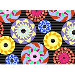 Colorful Retro Circular Pattern LOVE Bottom 3D Greeting Card (7x5) Back