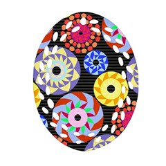 Colorful Retro Circular Pattern Ornament (Oval Filigree)