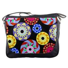 Colorful Retro Circular Pattern Messenger Bags