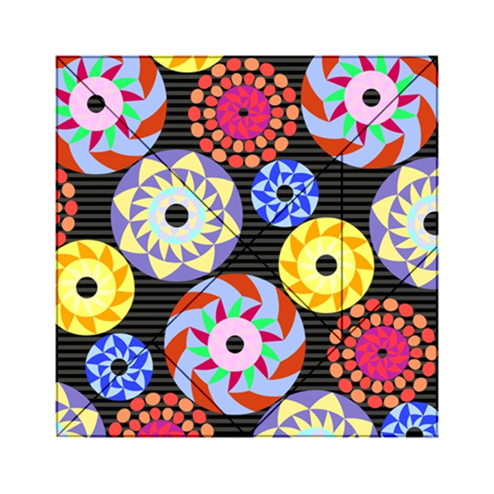 Colorful Retro Circular Pattern Acrylic Tangram Puzzle (6  x 6 )