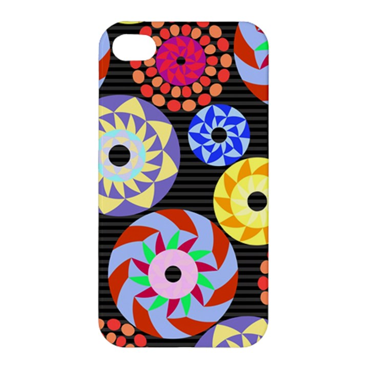 Colorful Retro Circular Pattern Apple iPhone 4/4S Premium Hardshell Case