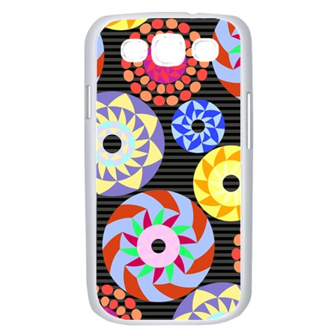Colorful Retro Circular Pattern Samsung Galaxy S III Case (White)