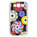 Colorful Retro Circular Pattern Samsung Galaxy S III Case (White) Front