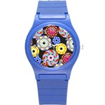 Colorful Retro Circular Pattern Round Plastic Sport Watch (S) Front