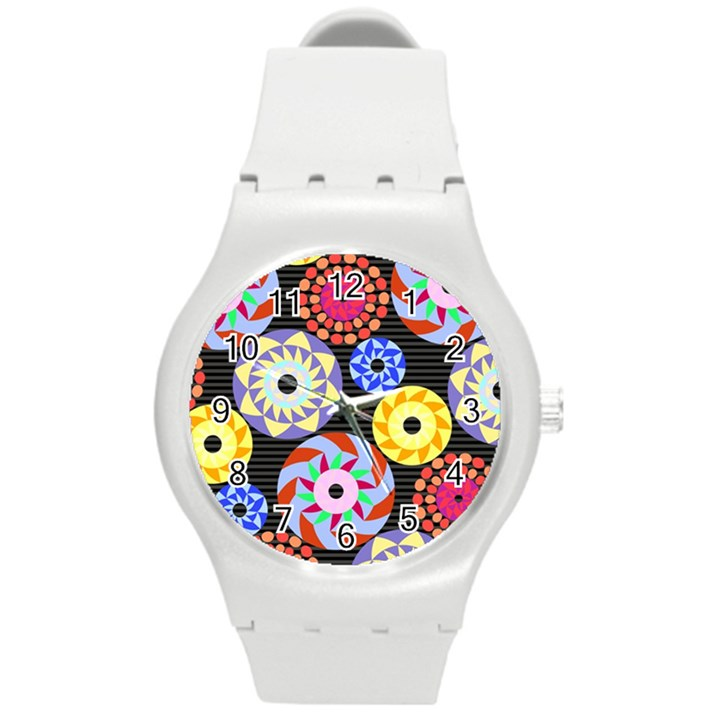 Colorful Retro Circular Pattern Round Plastic Sport Watch (M)