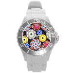 Colorful Retro Circular Pattern Round Plastic Sport Watch (L) Front