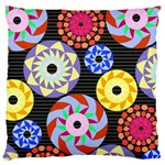 Colorful Retro Circular Pattern Large Cushion Case (Two Sides) Back