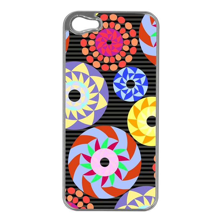 Colorful Retro Circular Pattern Apple iPhone 5 Case (Silver)