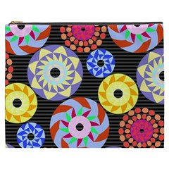 Colorful Retro Circular Pattern Cosmetic Bag (XXXL)