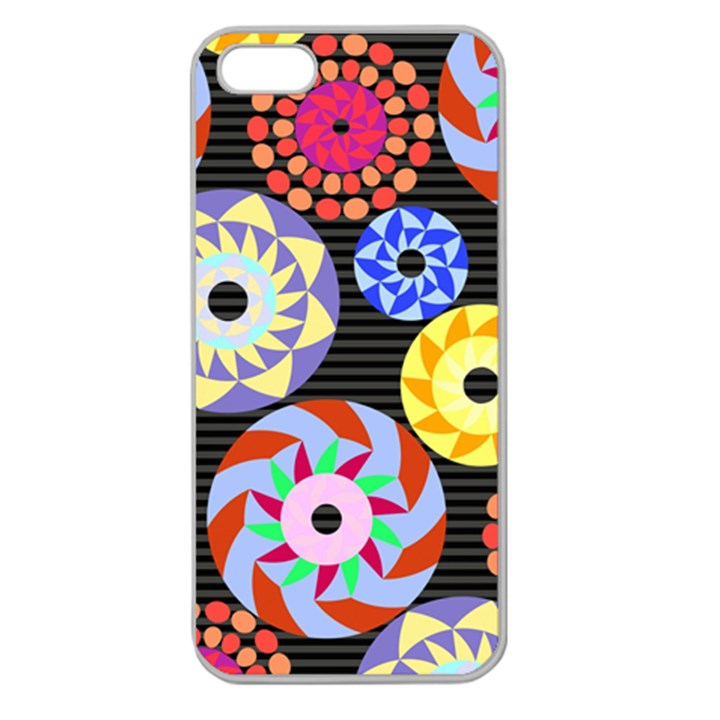 Colorful Retro Circular Pattern Apple Seamless iPhone 5 Case (Clear)
