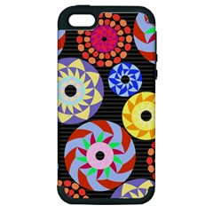 Colorful Retro Circular Pattern Apple Iphone 5 Hardshell Case (pc+silicone)
