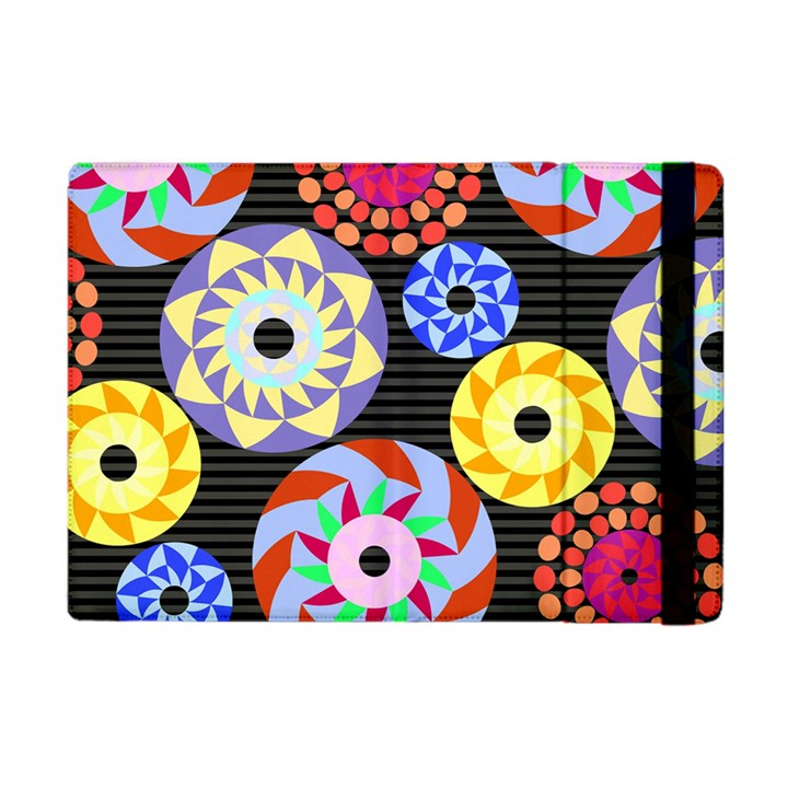 Colorful Retro Circular Pattern Apple iPad Mini Flip Case