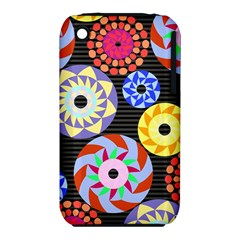 Colorful Retro Circular Pattern Apple iPhone 3G/3GS Hardshell Case (PC+Silicone)