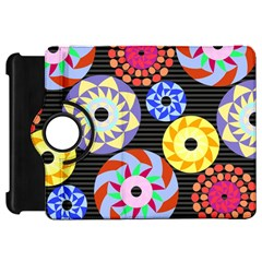 Colorful Retro Circular Pattern Kindle Fire HD Flip 360 Case