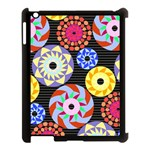 Colorful Retro Circular Pattern Apple iPad 3/4 Case (Black) Front