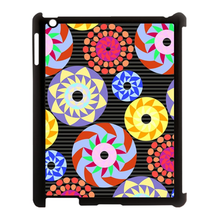 Colorful Retro Circular Pattern Apple iPad 3/4 Case (Black)