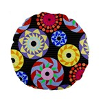 Colorful Retro Circular Pattern Standard 15  Premium Round Cushions Front