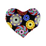 Colorful Retro Circular Pattern Standard 16  Premium Heart Shape Cushions Front
