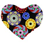 Colorful Retro Circular Pattern Large 19  Premium Heart Shape Cushions Front