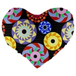 Colorful Retro Circular Pattern Large 19  Premium Heart Shape Cushions Back