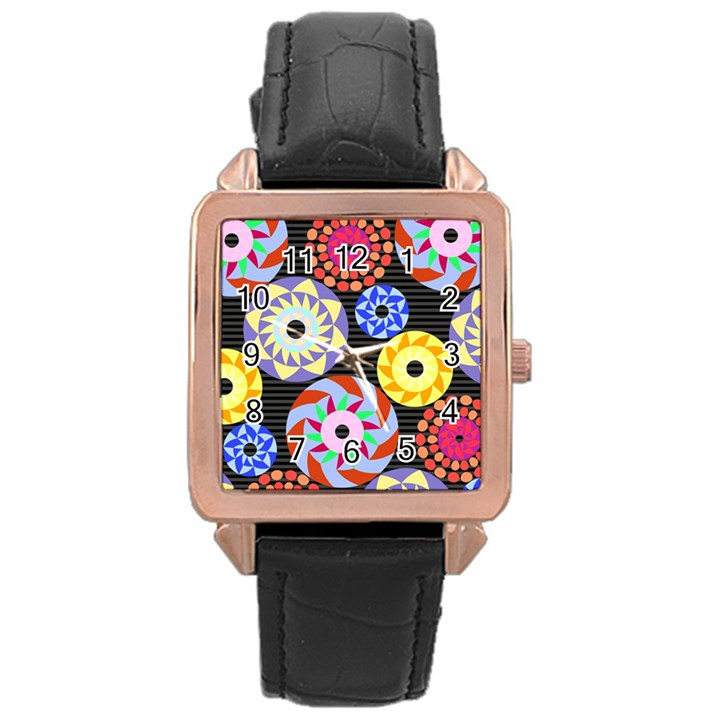 Colorful Retro Circular Pattern Rose Gold Leather Watch
