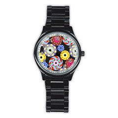 Colorful Retro Circular Pattern Stainless Steel Round Watch