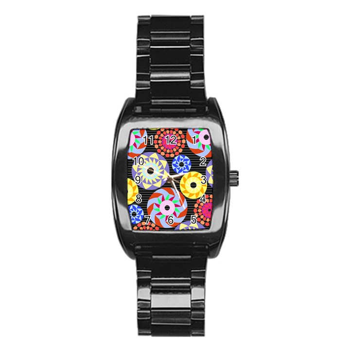 Colorful Retro Circular Pattern Stainless Steel Barrel Watch