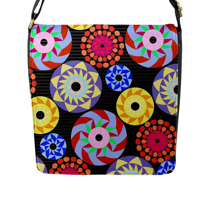 Colorful Retro Circular Pattern Flap Messenger Bag (L)