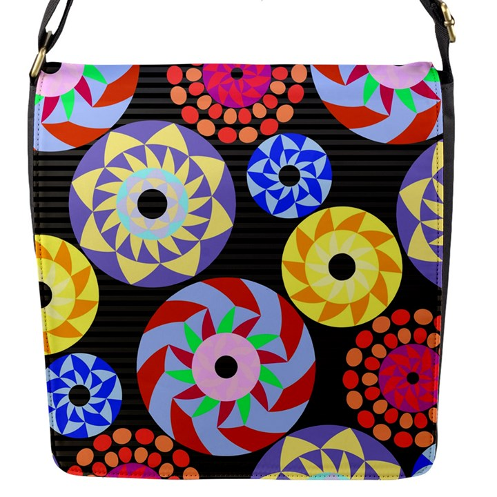 Colorful Retro Circular Pattern Flap Messenger Bag (S)