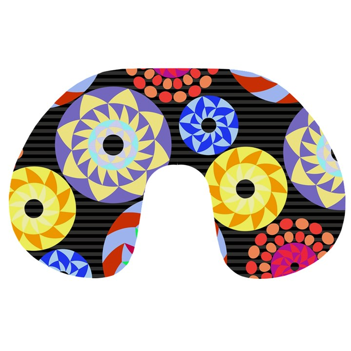 Colorful Retro Circular Pattern Travel Neck Pillows