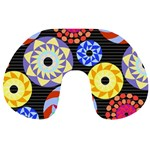 Colorful Retro Circular Pattern Travel Neck Pillows Back