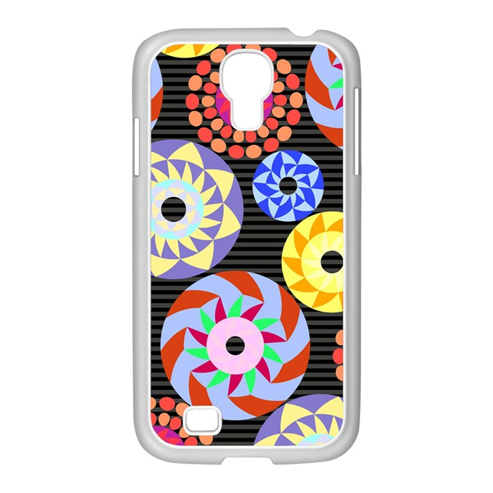 Colorful Retro Circular Pattern Samsung GALAXY S4 I9500/ I9505 Case (White)