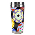 Colorful Retro Circular Pattern Stainless Steel Travel Tumblers Left