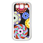 Colorful Retro Circular Pattern Samsung Galaxy S3 Back Case (White) Front