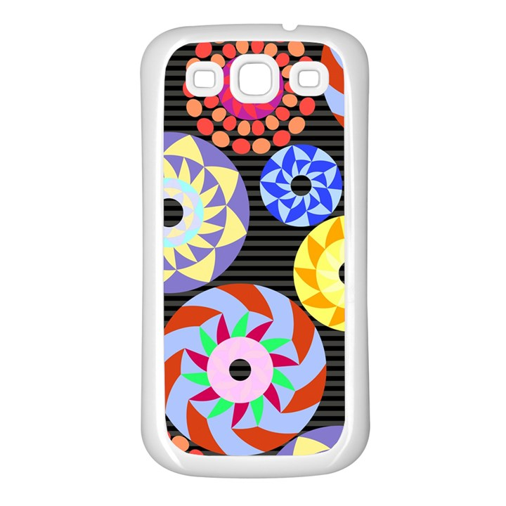 Colorful Retro Circular Pattern Samsung Galaxy S3 Back Case (White)