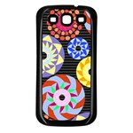 Colorful Retro Circular Pattern Samsung Galaxy S3 Back Case (Black) Front