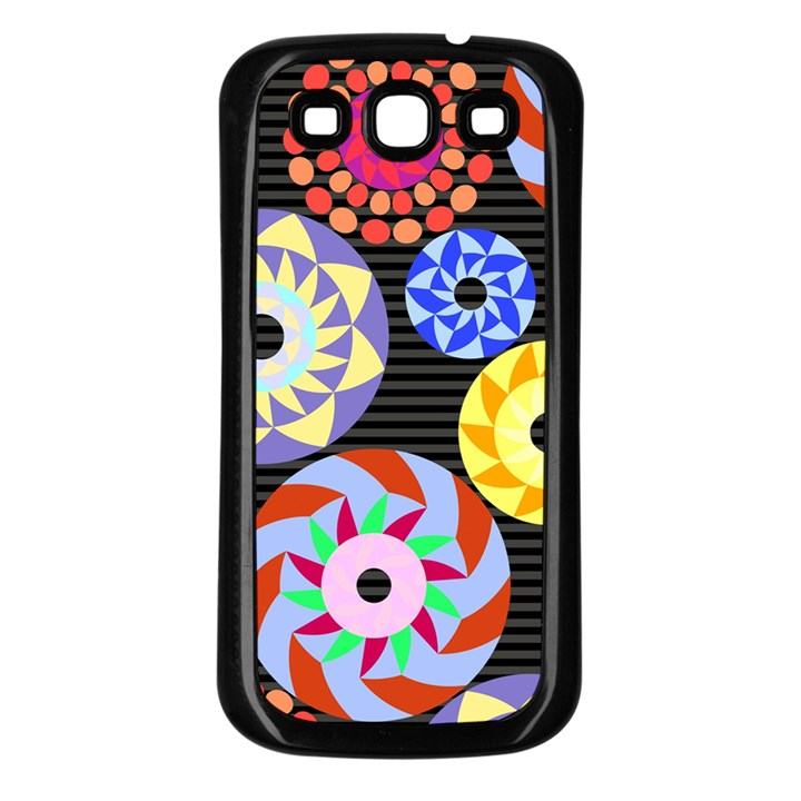 Colorful Retro Circular Pattern Samsung Galaxy S3 Back Case (Black)